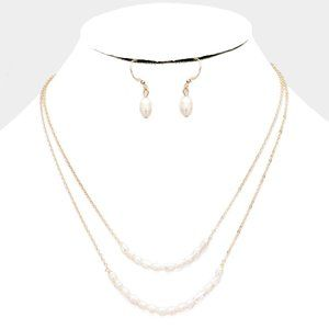 Cream Freshwater Pearl Statement Layered Necklace
